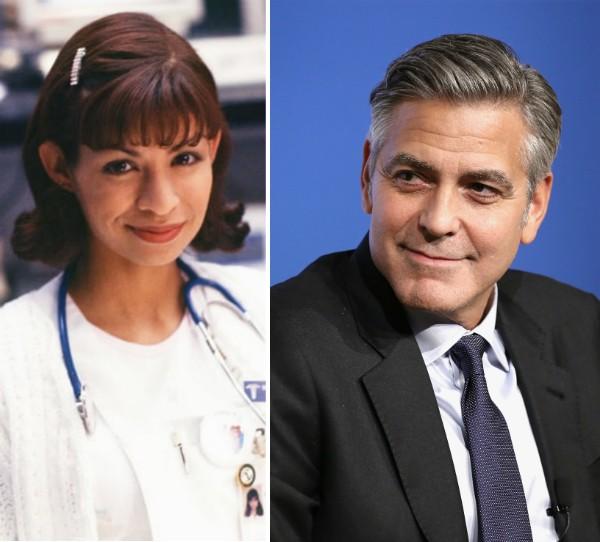 A atriz Vanessa Marquez e o ator George Clooney (Foto: Reprodução/Getty Images)