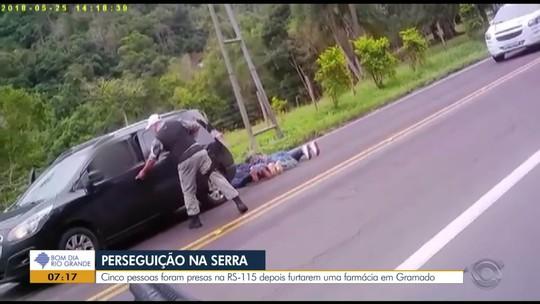 Cinco pessoas são presas por roubo à farmácia em Gramado após perseguição na ERS-115