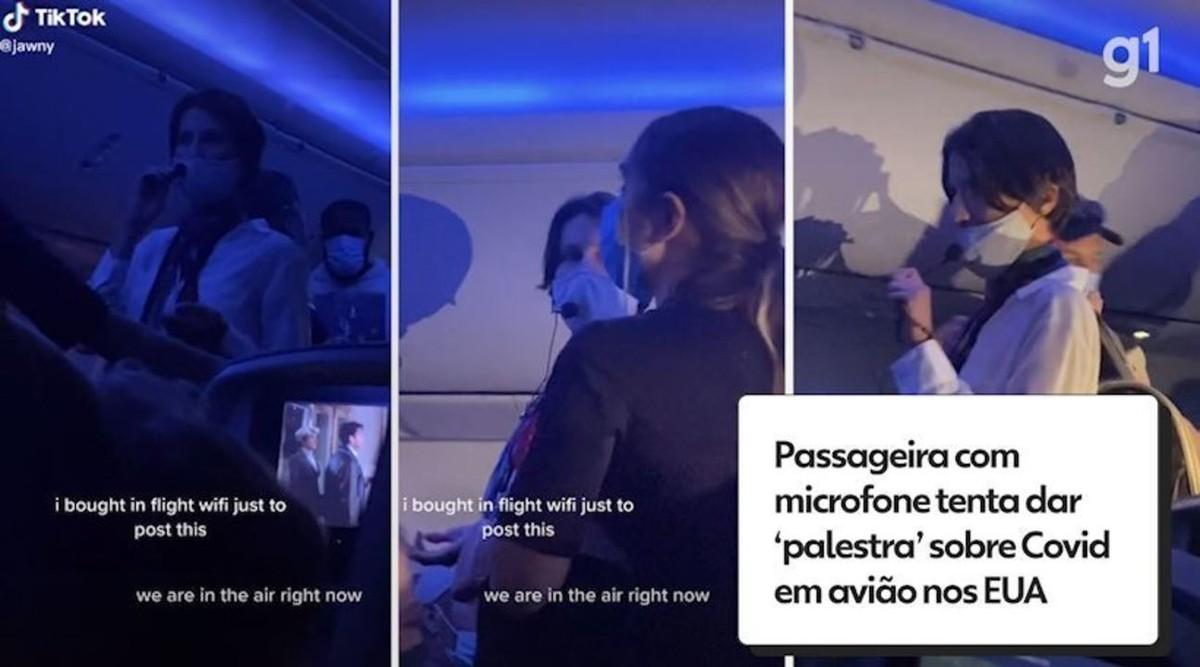 Passageira com microfone tenta dar 'palestra' sobre Covid em avião; assista