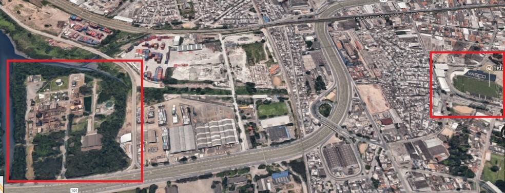 À esquerda, o terreno na Avenida Brasil, que o Fla tem a opção de compra. À direita, o estádio Vasco da Gama, a casa do rival vascaíno (Foto: Reprodução)