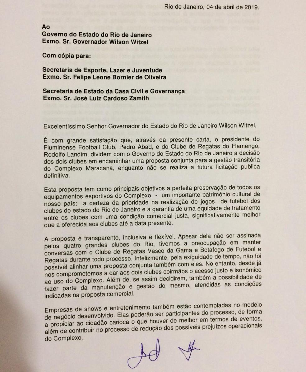 Carta que Flamengo e Fluminense apresentaram ao governo — Foto: Reprodução