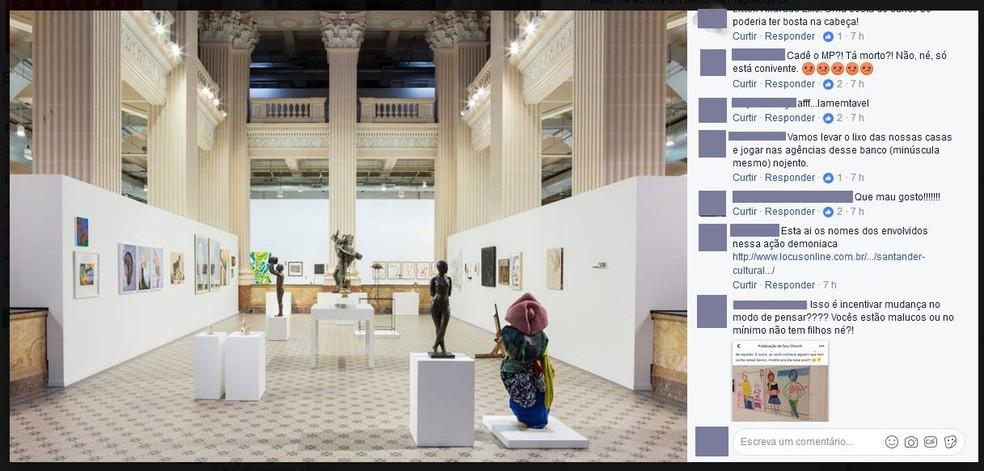 Página do Santander Cultural foi tomada por críticos à exposição Queermuseu, que foi cancelada (Foto: Reprodução/Facebook/Santander Cultural )