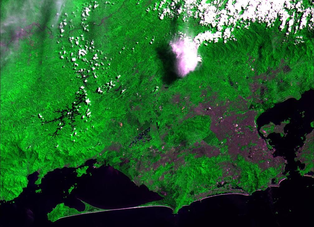 Composição colorida mostrando a região metropolitana do Rio de Janeiro e seu entorno — Foto: Divulgação/ Inpe