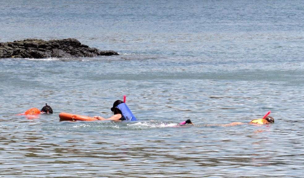 O mergulho em apneia é feito diariamente por turistas na ilha — Foto: Ana Clara Marinho/TV Globo