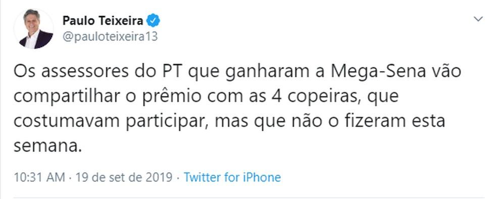 Deputado confirmou intenção de doação de prêmio da Mega-Sena a copeiras — Foto: Reprodução/Twitter