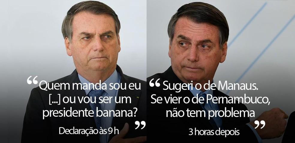 Bolsonaro ameniza tom e diz que 'tanto faz' novo chefe da PF no RJ — Foto: Marcelo Camargo/Agência Brasil; MATEUS BONOMI/AGIF/ESTADÃO CONTEÚDO