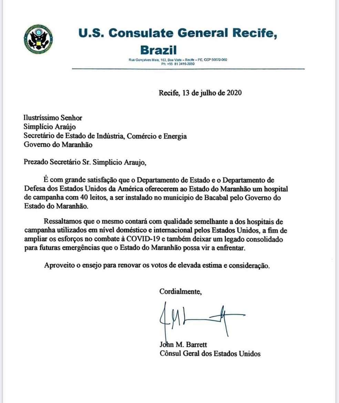 Documento divulgado por Simplício Araújo que aponta a doação de um hospital de campanha para o Maranhão, pelos EUA — Foto: Divulgação