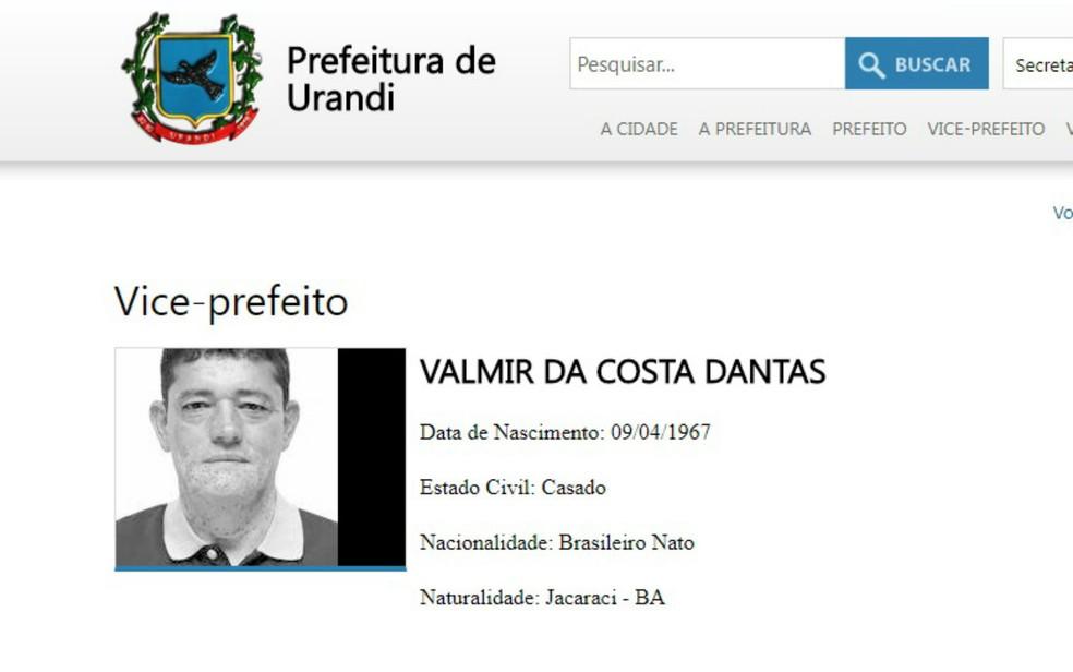 Vice-prefeito de Urandi morre em acidente de carro em MG (Foto: Reprodução)