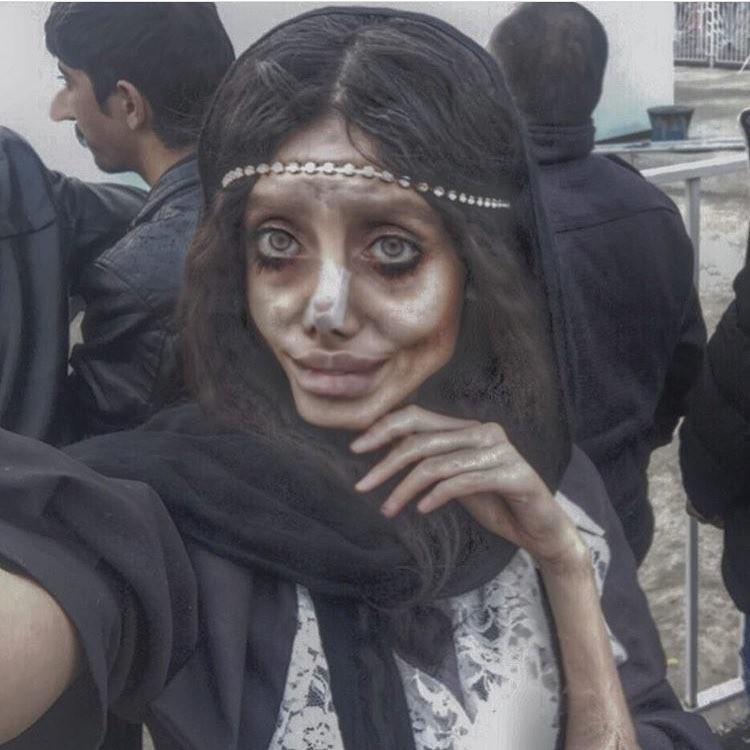 Iraniana Sahar faz versão zumbi de Angelina Jolie (Foto: Reprodução / Instagram)