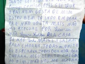 Adolescente de 13 anos deixou carta após fugir em Rondônia (Foto: Matheus Henrique/G1)