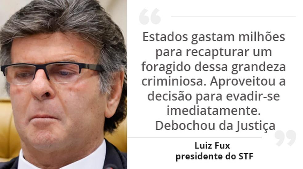 O ministro Luiz Fux, presidente do STF, foi o primeiro a votar no caso do traficante André do Rap — Foto: Rosinei Coutinho/SCO/STF; Arte/G1