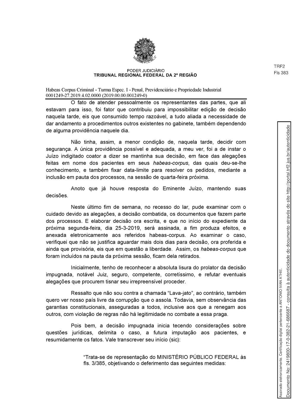 Decisão TRF 2 - pg 2 — Foto: Reprodução