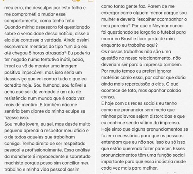 Segunda parte do texto de Bruna Marquezine (Foto: Reprodução/Twitter)
