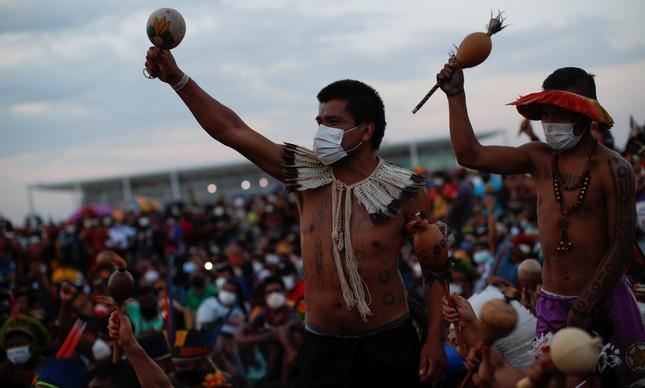 Laklãnõ-Xokleng: Manifestação diante do STF, em Brasília, na semana passada