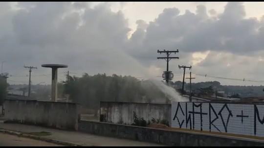 Vazamento de água em área com rodízio preocupa moradores do Grande Recife; veja vídeo