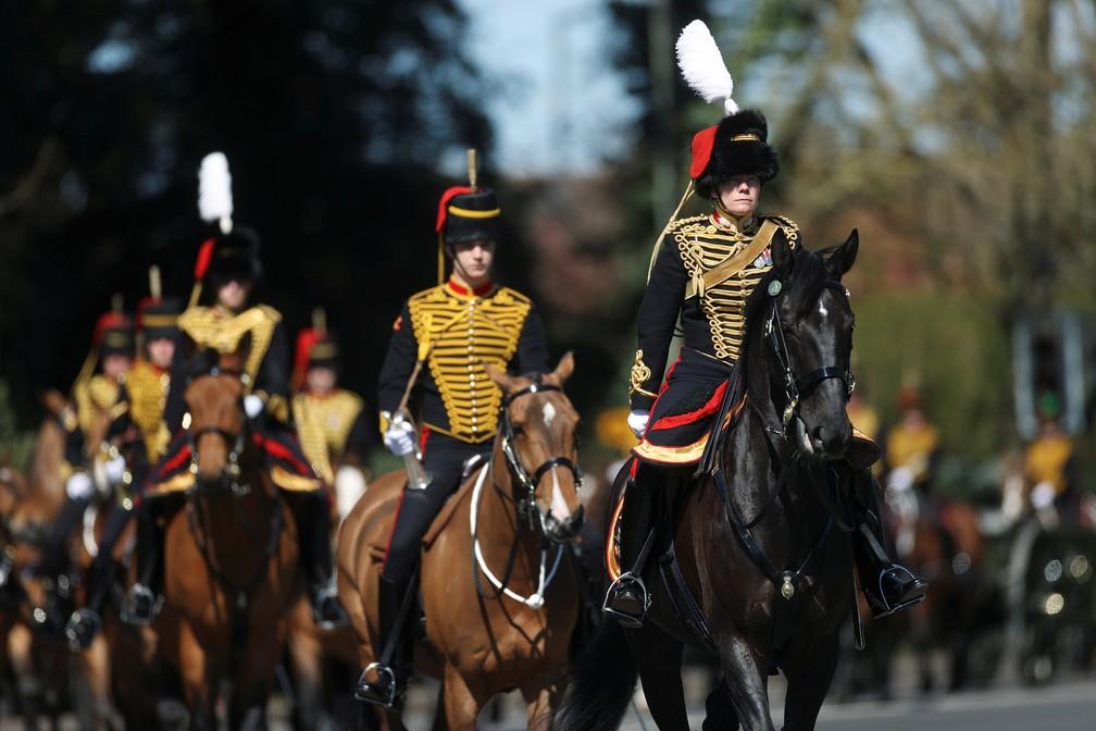 Membros da guarda real em Windsor para o funeral de príncipe Philip em 17 de abril de 2021 — Foto: Carl Recine/Reuters