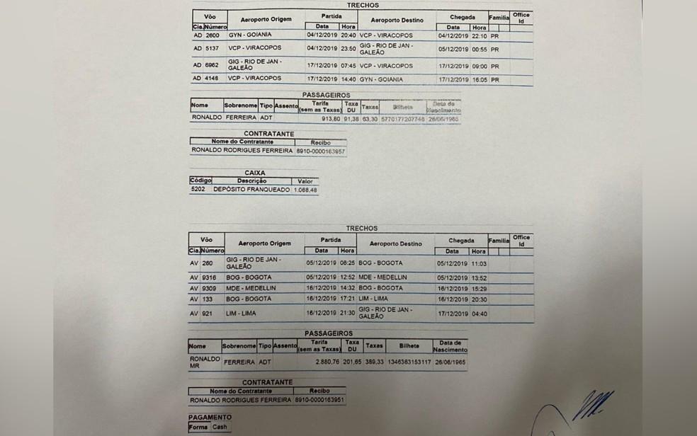 Comprovantes da ida e volta do indiciado à Colômbia obtidos pela Polícia Civil de Goiás — Foto: Divulgação/Polícia Civil de Goiás