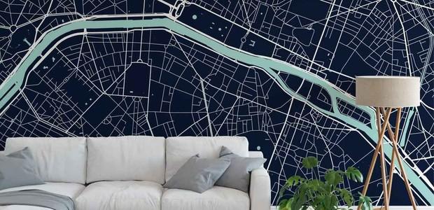 Papel de parede com o mapa da cidade de Paris, feito pela Point Two Design (Foto: Divulgação)