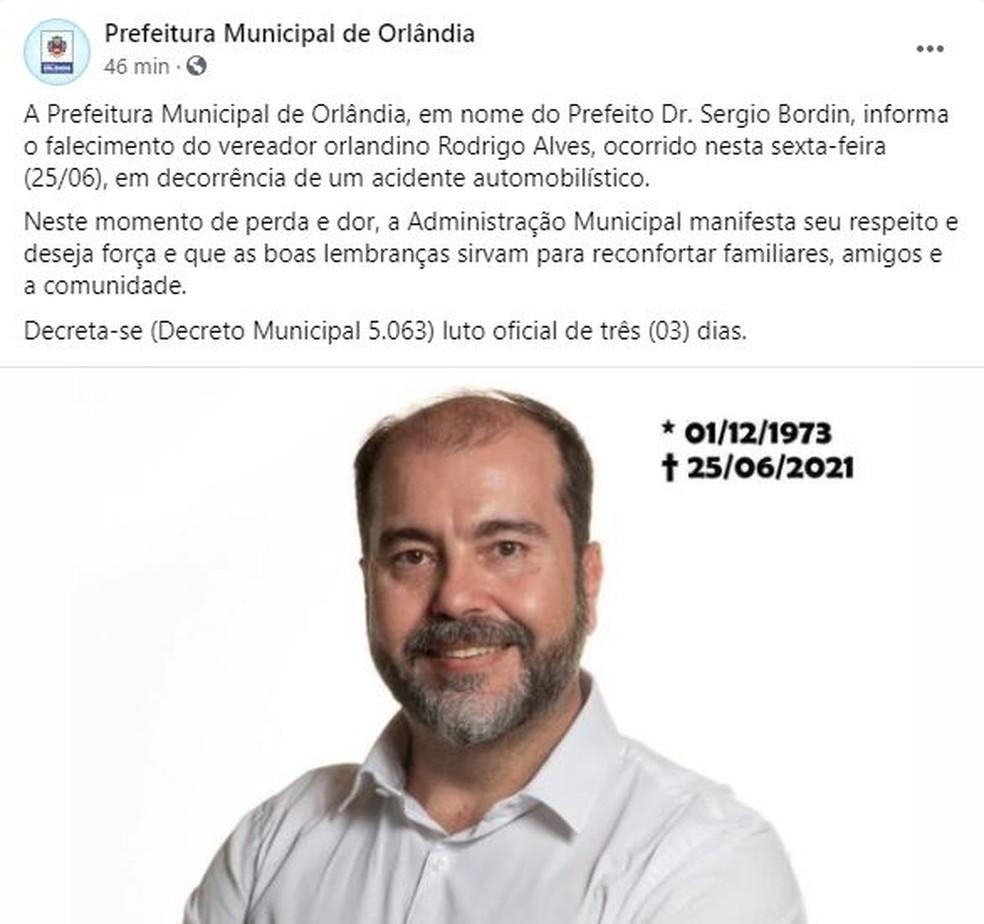 Prefeitura de Orlândia decreta luto por mote de vereador — Foto: Reprodução/Facebook