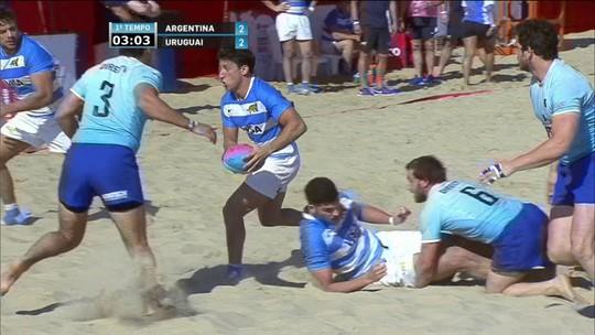Melhores momentos: Argentina 9 x 5 Uruguai em desafio de rúgbi de praia masculino