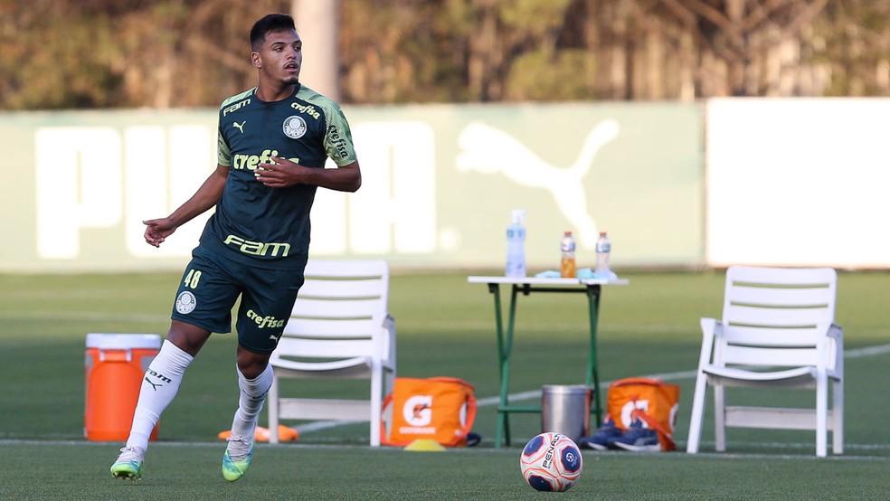 Gabriel Menino, durante treino na grama artificial da Academia de Futebol — Foto: Cesar Greco/Ag. Palmeiras