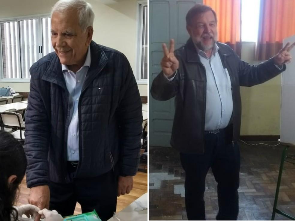 Professor Oriovisto Guimarães (Podemos) e Flavio Arns (Rede) foram eleitos senadores pelo Paraná — Foto: Andressa Almeida e Paola Manfroi/RPC