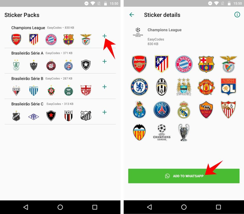 Adicione um pacote de adesivos de times da Champions League ao WhatsApp — Foto: Reprodução/Rodrigo Fernandes