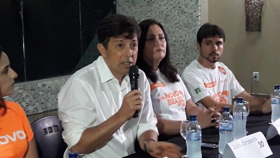 João Amoêdo participou de evento em Natal nesta quarta-feira (19) — Foto: Heloísa Guimarães/Inter TV Cabugi