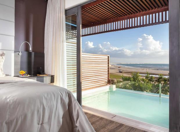 Quarto do hotel Essenza, em Jericoacoara, com piscina privativa e vista para o mar (Foto:   Essenza Hotel/Reprodução)