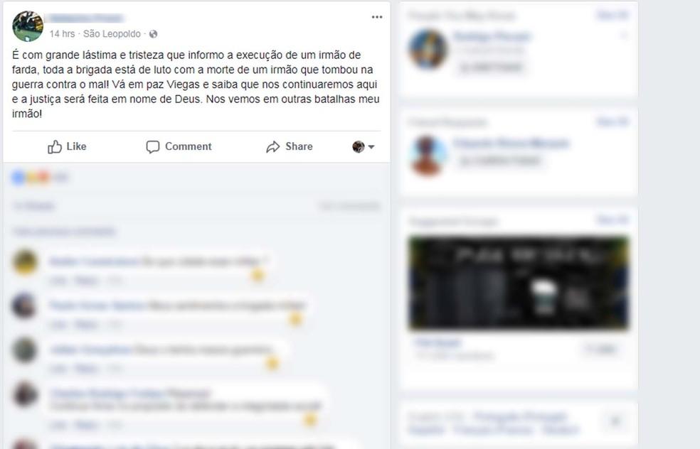 Colega da Brigada Militar se manifestou com tristeza em rede social. (Foto: Repodução/Facebook)