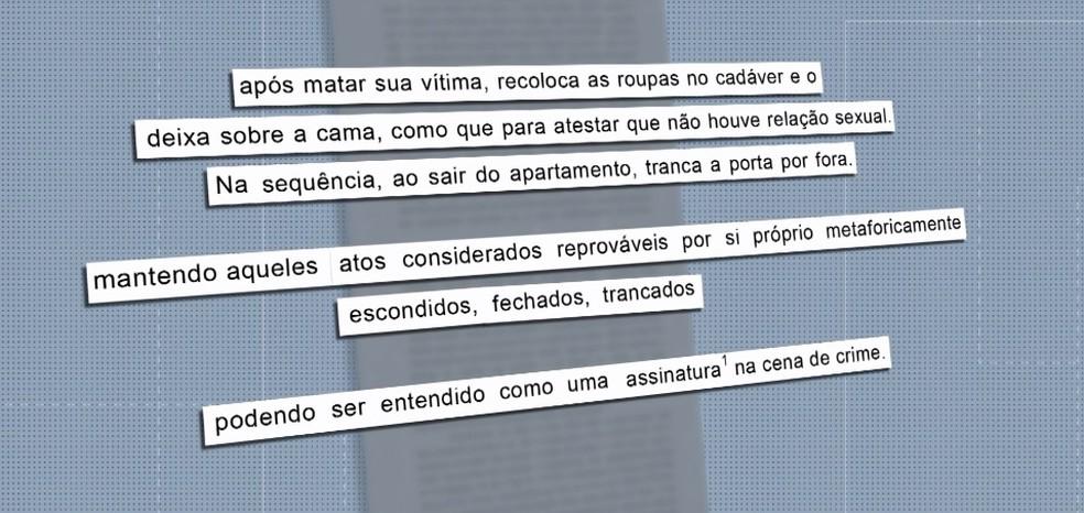Laudo descreve como serial killer deixava a cena do crime após assassinatos — Foto: Reprodução/RPC