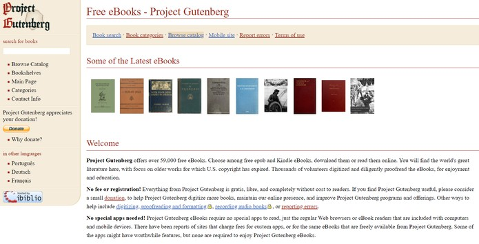 Project Gutenberg reúne mais de 59 mil títulos (Foto: Reprodução/Projeto Gutenberg)