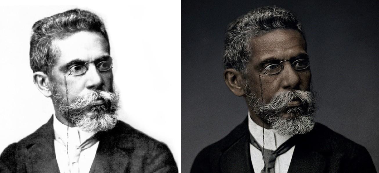 À direita, a nova versão da foto de Machado de Assis