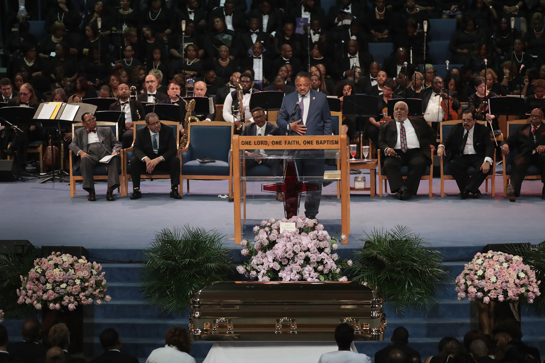 O funeral da cantora Aretha Franklin (1942-2018), em Detroit (Foto: Getty Images)