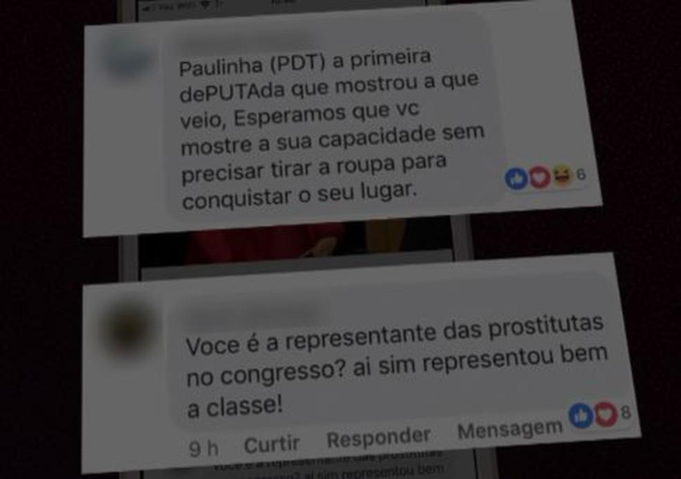 Comentários postados na página da deputada Ana Paula da Silva (PDT-SC), após publicação de foto da posse. — Foto: Reprodução/NSC TV