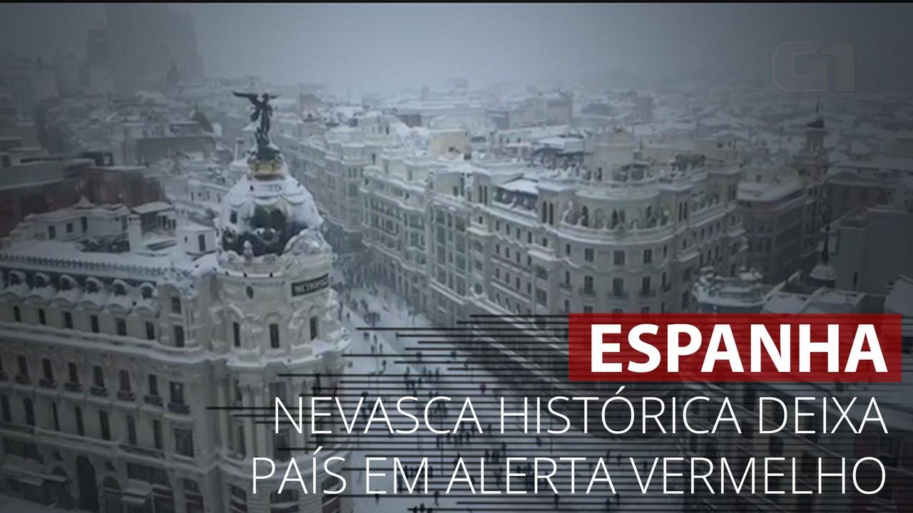 VÍDEO: Nevasca histórica atinge a Espanha e deixa país em alerta vermelho