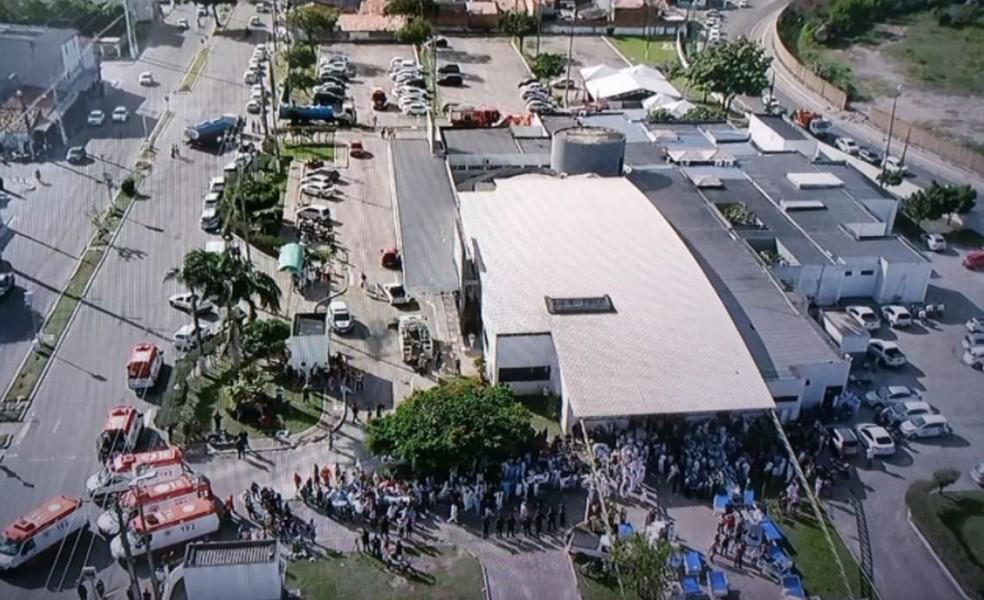 Imagens áreas do Nestor Piva após incêndio ser controlado  — Foto: Reprodução/TV Sergipe