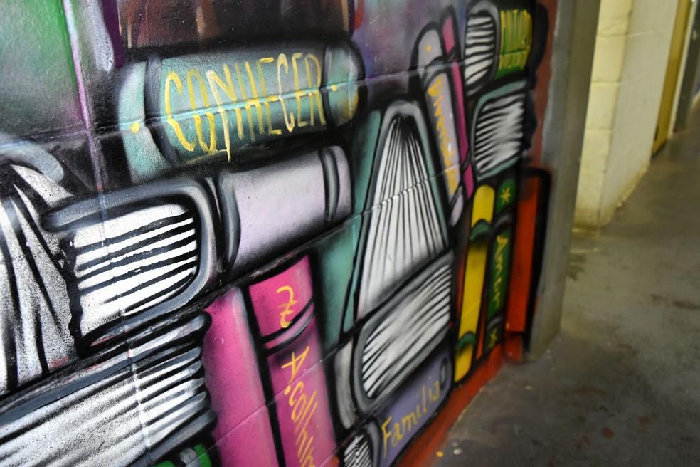 Parede pintada por internos da Fundação Casa Andorinhas, em Campinas. — Foto: Patrícia Teixeira/G1
