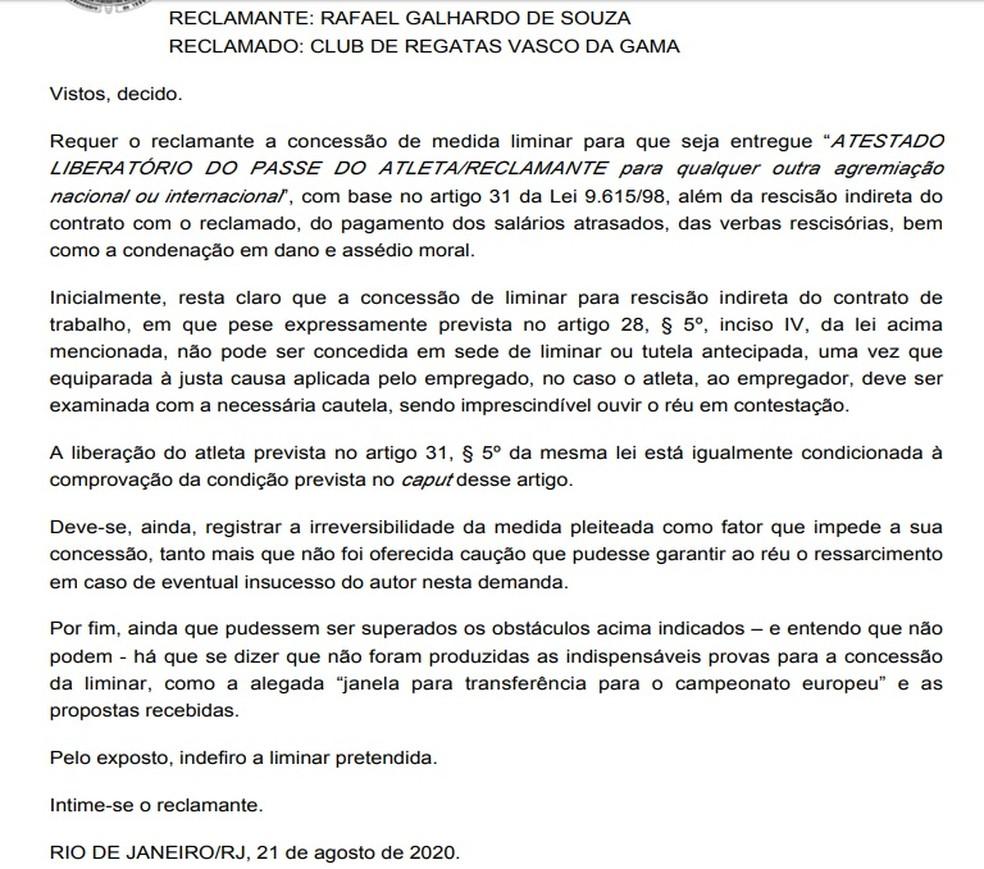 Juíza nega liminar a Rafael Galhardo — Foto: Reprodução