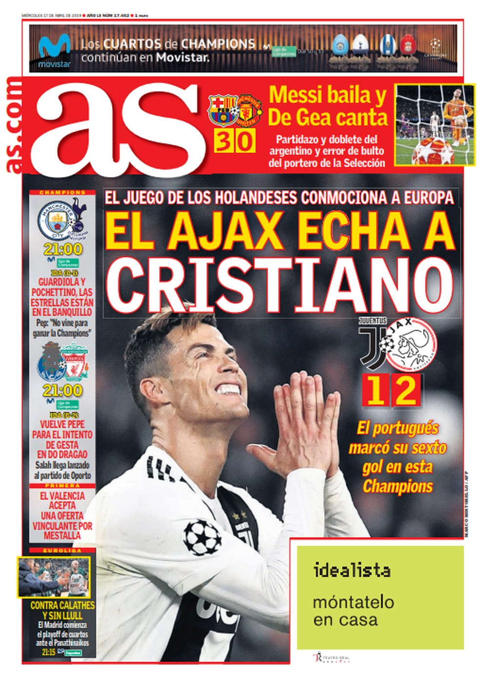 Manchete do AS após Juventus x Ajax — Foto: Reprodução / Twitter