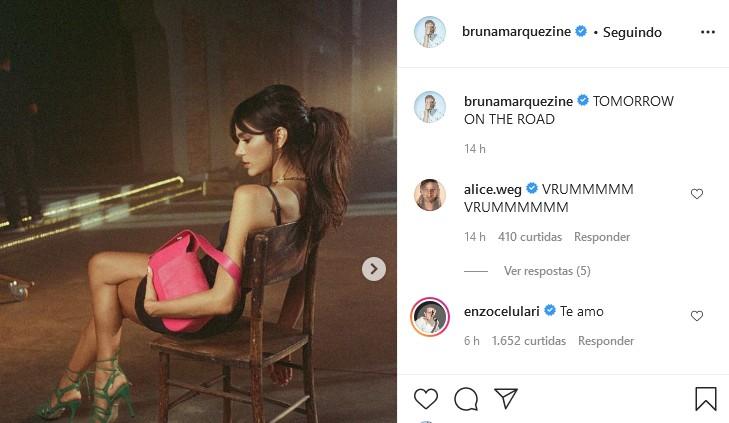 Enzo Celulari comenta foto de Bruna Marquezine (Foto: Reprodução/Instagram)