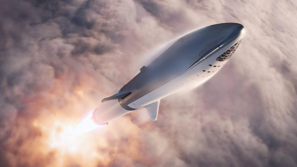 Ilustração representa o foguete BFR (Foto: Divulgação/SpaceX)