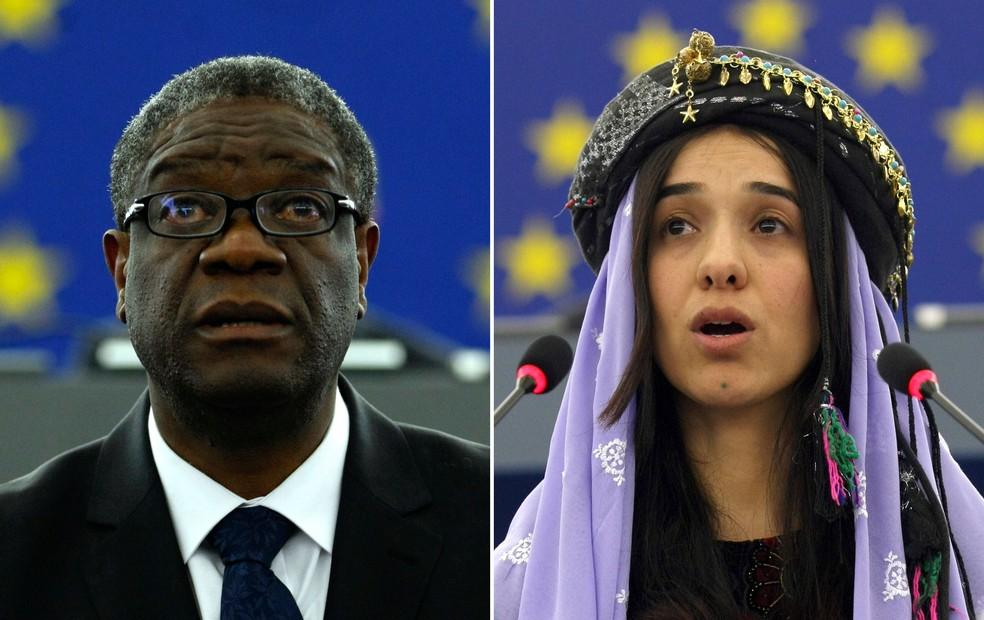Médico Denis Mukwege, que atua na República Democrática do Congo, e a ativista Nadia Murad, ex-escrava sexual do Estado Islâmico no Iraque, ganharam o prêmio Nobel da Paz de 2018 — Foto: Christian Lutz/AP
