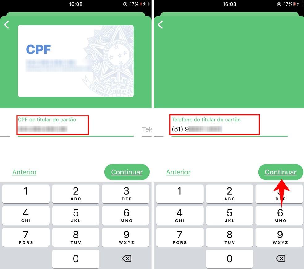Como transferir auxílio para o PicPay? App solicita dados do titular do cartão — Foto: Reprodução/Rodrigo Fernandes