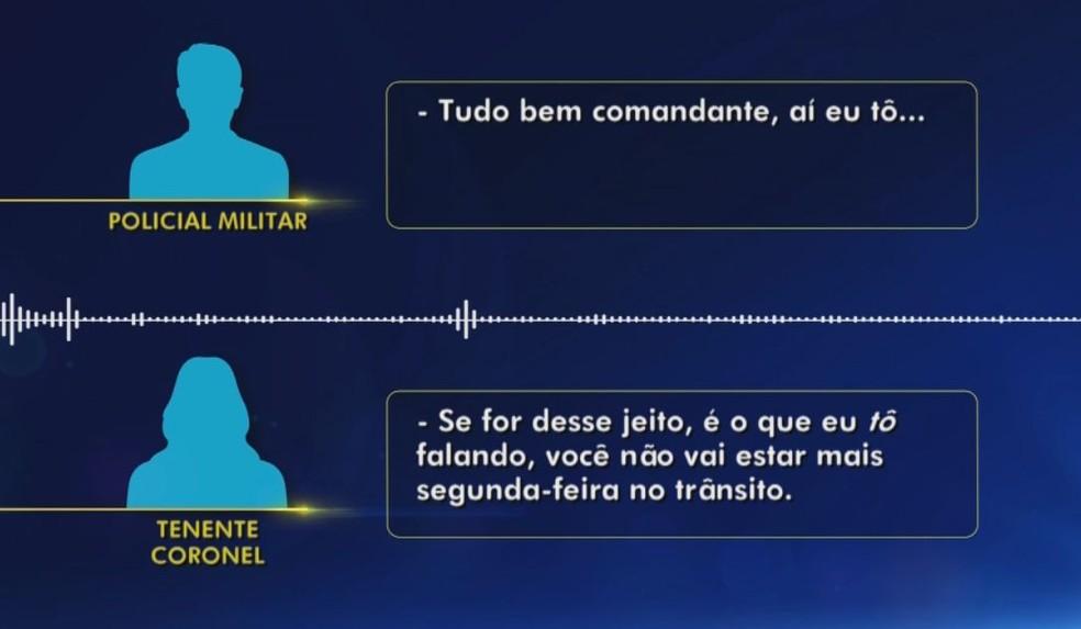 Na ligação, a tenente-coronel afirma que o policial pode ser transferido do setor  — Foto: TV TEM/Reprodução