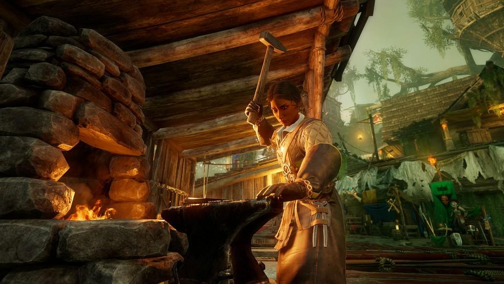 No jogo você poderá trabalhar com ferreiro e produzir as melhores armas do jogo. — Foto: Divulgação/Amazon Studios