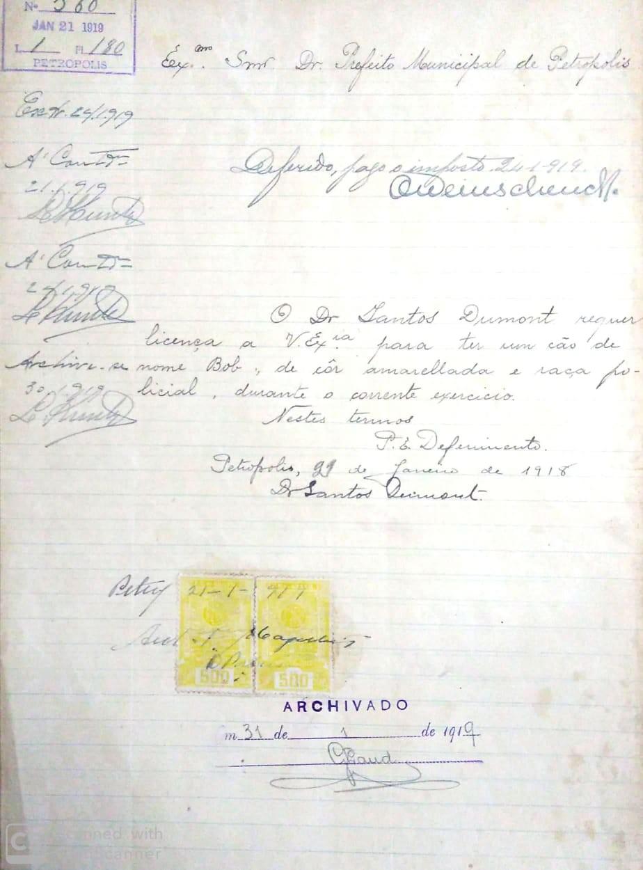G1 resgata documento com pedido de Santos Dumont para ter o cachorro Bob em sua casa no RJ - Notícias - Plantão Diário