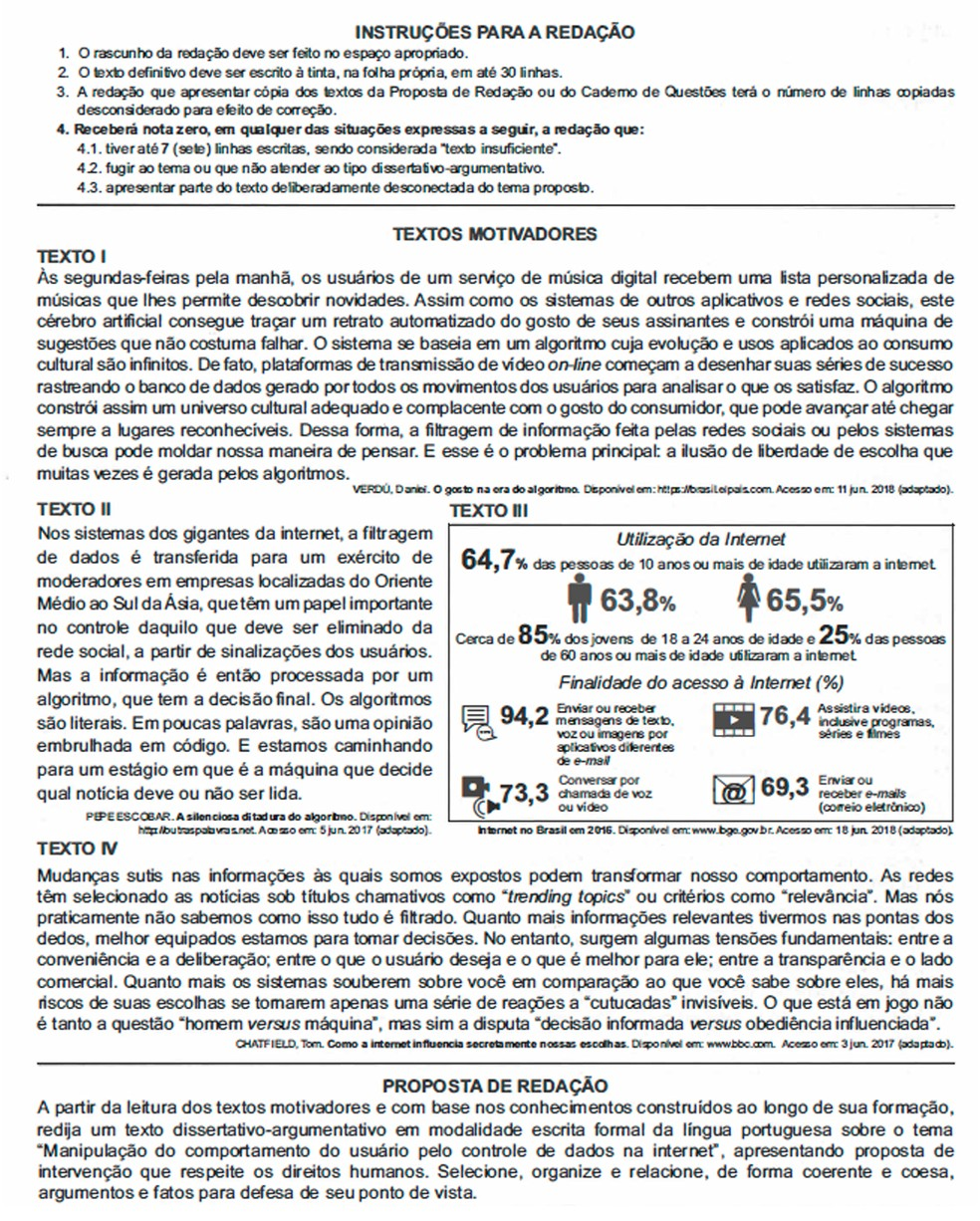 Enem 2018 - Prova Amarela - Redação — Foto: Reprodução