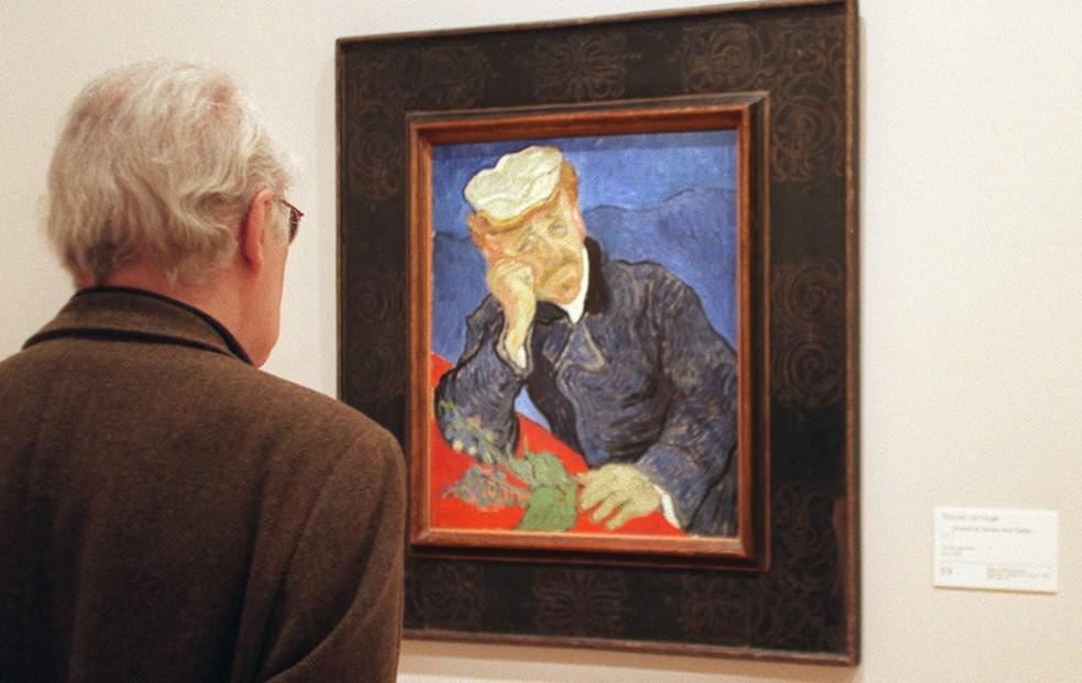 'Retrato do Dr. Paul Gachet', feito por Vincent van Gogh em 1890, foi vendido por $82,500,000 em leilão de Nova York — Foto: Manoocher Deghati/AFP