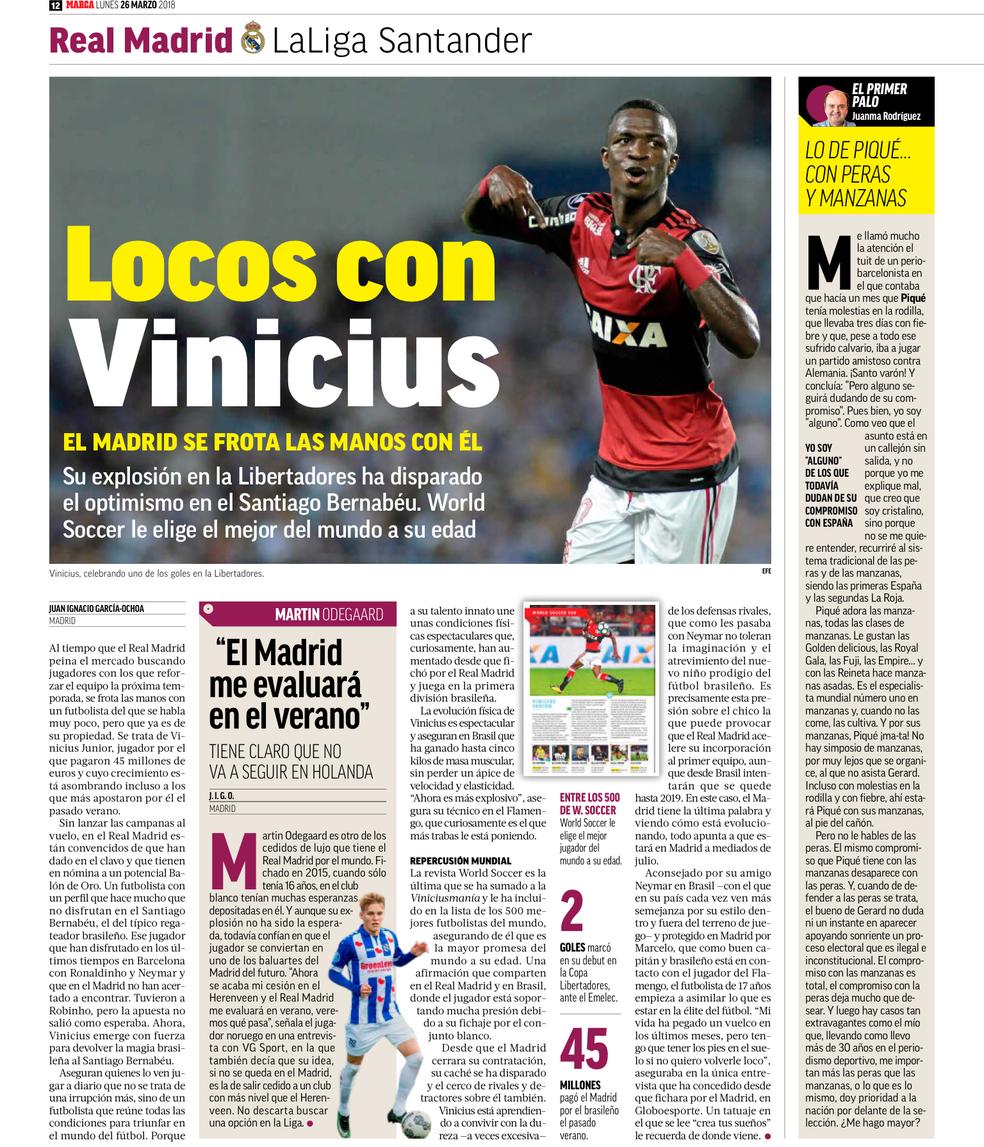 Vinicius Junior Marca Flamengo (Foto: Reprodução/Marca)